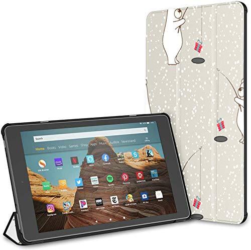Funda para Tableta Winter Snow Animal Bear Fire HD 10 (9a / 7a generación, versión 2019/2017) Funda para Tableta Kindle Fire Tablet 10 Fundas y Cubiertas Auto Wake/Sleep para Tableta de 10.1 pulgad