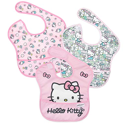 Bumkins SuperBib, Hello Kitty Baby Bib, Waterproof, Washable, Stain and Odor Resistant, 6-24 Months, 3-Pack – Sanrio