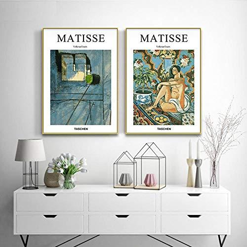 MXK Henri Matisse Diseño de Moda Carteles e Impresiones artísticos Pintura en Lienzo Cuadros de Pared para Sala de Estar Paisaje Abstracto Decoración del hogar 50x70cm Sin Marco