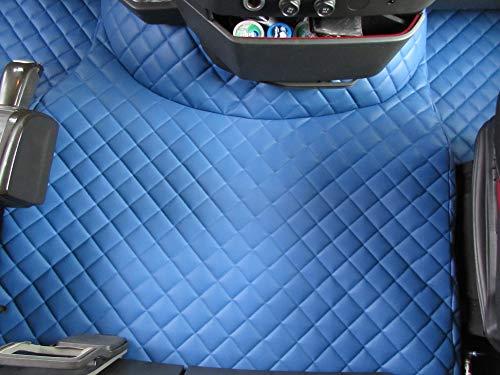TEXMAR Fußmatten für Volvo FH4 Automat ab 2014 Linkslenker, blaues Öko-Leder