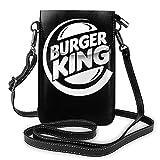Burger King Logo Mujer Cuero Pequeño Teléfono Celular Bolso Crossbody Bolsos Negro Un Tamaño