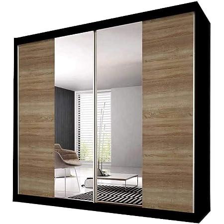 E-MEUBLES Armoire de Chambre avec 2 Portes coulissantes   Penderie (Tringle) avec étagères (LxHxP): 183x218x61 Ben 36 (Noir/chêne Sonoma+Miroir)