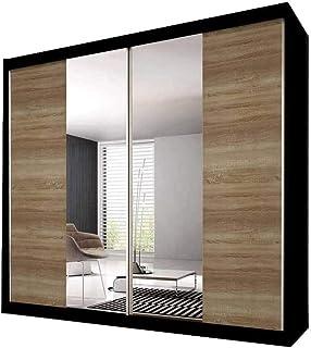 E-MEUBLES Armoire de Chambre avec 2 Portes coulissantes | Penderie (Tringle) avec étagères (LxHxP): 203x218x61 Ben 36 (Noi...