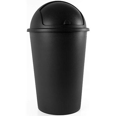 Deuba Poubelle Corbeille 50 litres Noir avec Couvercle basculant amovible 68cm x 40cm Maison Cuisine collecteur déchets