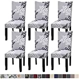 Fuloon 6 Pack Super Fit Stretch Removable Washable Short Dining Chair Protector Cover Seat Slipcover for Hotel,Dining Room,Ceremony,Banquet Wedding Party (Gray/Black)