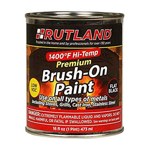 Rutland Premium 1400 degree F Hi-Temp Brush-On Paint, 16 fl oz, Black