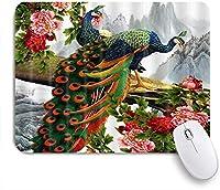 EILANNAマウスパッド 風景画の牡丹の花で華やかな孔雀 ゲーミング オフィス最適 高級感 おしゃれ 防水 耐久性が良い 滑り止めゴム底 ゲーミングなど適用 用ノートブックコンピュータマウスマット