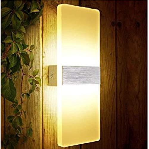 XIAJIA -6 W Aplique de pared interior lámpara de pared aplique LED moderno de acrílico para decoración salón dormitorio baño color blanco cálido