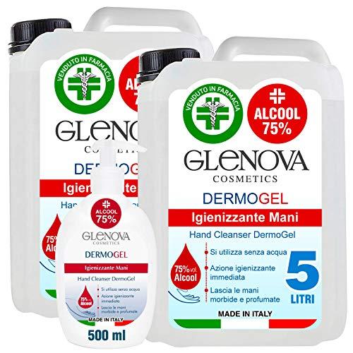 2 Taniche Gel per Mani da 5 Litri Alcool 75% con 500ml Dispenser 75% GLENOVA Igienizzante Antibatterico Sanificante Dosatore Alcolico Azione Rapida Contro Germi e Batteri