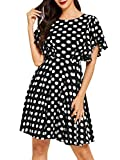 Romwe Women's Stretchy A Line Swing Flared Skater Cocktail Party Dress Polka Dot Black L