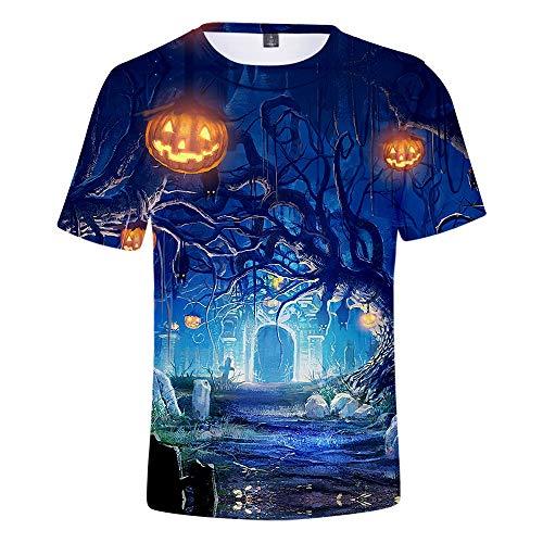 Mempire Halloween T-Shirts pour Hommes 3D Imprimé À Capuche Citrouille Lanterne T-Shirt Cadeau De Jour Traditionnel