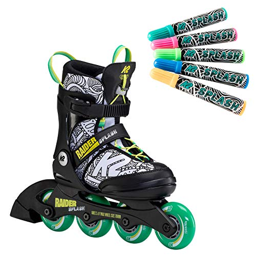 K2 Skates Jungen Inline Skate Raider Splash — Black - Green - Splash — M (EU: 32-37 / UK: 13-4 / US: 1-5) — 30F0116