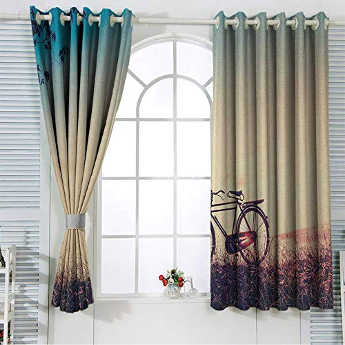 Vintage Bike Kitchen Window Treatment Curtains Retro Filter Sunset and Bicycle in Pastel Tones Hipster Joyful Room Darkening Curtain for Living Room 52x63 Inch