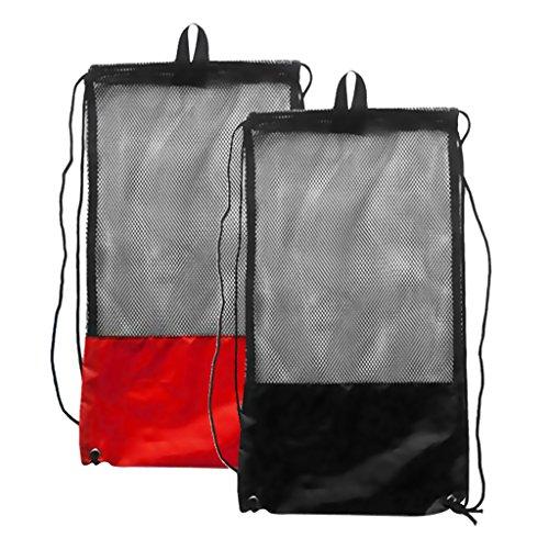 2 Stücke - Netzbeutel Mesh Bag, Netztasche (48 x 27 cm) schwarz und rot für Erwachsene Tauchen Schnorcheln Schwimmen Ausrüstung Rucksack Aufbewahrungsbeutel Tragetasche Flossentasche