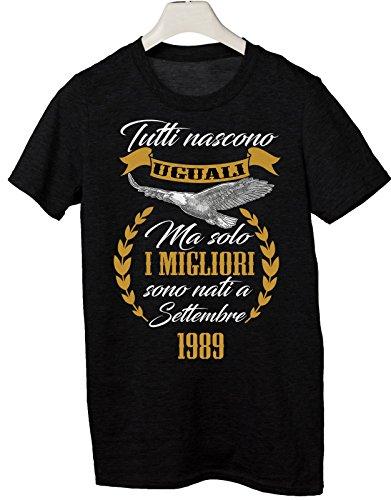 Tshirt Compleanno Tutti Nascono Uguali ma Solo i Migliori Sono Nati a Settembre 1989 - Idea Regalo