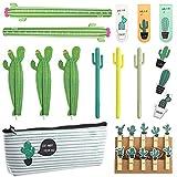 Set de 25 Piezas Bolígrafos de Cactus, Set de Papelería Creativa de Cactus para Suministros de Regalo de Casa Escuela Oficina