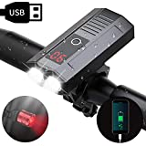 WAKYME Bike Light Set, COZEY 5200mAh USB Rechargeable Bicycle Light with Power Bank Function and Intelligent LED Display Headlight Taillight Combinations LED Road Cycling Commuter Flashlight