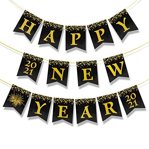 HOWAF 2021 Feliz año Nuevo Pancartas decoración, Negro y Oro Bandera Signo decoración Fiesta de Nochevieja 2021, Impreso Oro Brillante Cartel Guirnalda Colgante de año Nuevo Decoración Suminis