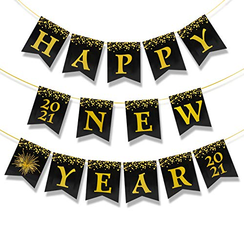 HOWAF 2021 Feliz año Nuevo Pancartas decoración,  Negro y Oro Bandera Signo decoración Fiesta de Nochevieja 2021,  Impreso Oro Brillante Cartel Guirnalda Colgante de año Nuevo Decoración Suministros