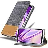 Cadorabo Hülle für LG Q6 - Hülle in HELL GRAU BRAUN – Handyhülle mit Standfunktion & Kartenfach im Stoff Design - Hülle Cover Schutzhülle Etui Tasche Book
