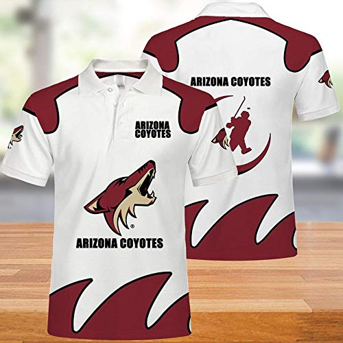 HomeARTS Hombres Camisetas Polo -NHL Arizona Coyotes 3D Camiseta De Manga Corta Ocasional De La Camiseta De Las Tapas - Adolescentes Regalos A-S