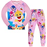 AOVCLKID Toddler Girls Baby 2 Pcs Pajamas Shark Cartoon Print Nightgown (Pink,100/3-4Y)