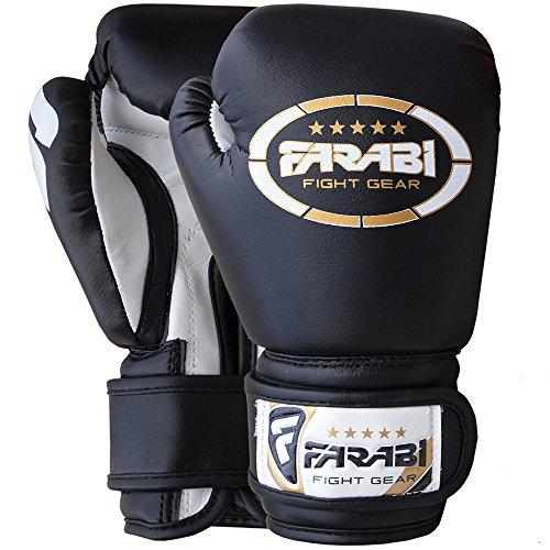 Farabi Junior Starlux Boxhandschuhe zum Trainieren für Kinder im Alter von 3bis 12Jahren, Schwarz , 4Oz