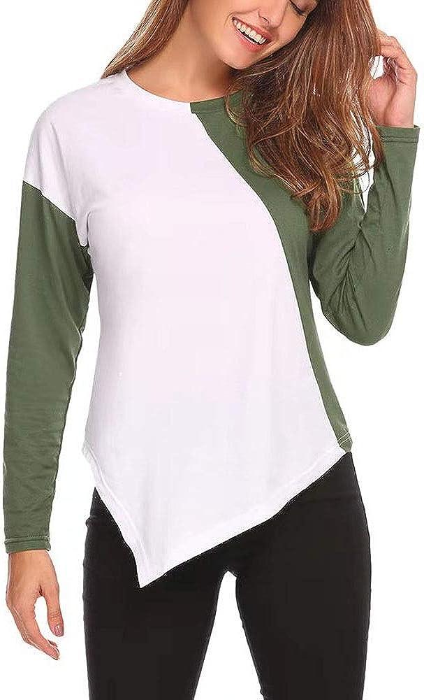 VENCANN Womens Casual Colour Block Long Sleeve Irregular Hem Top Shirt