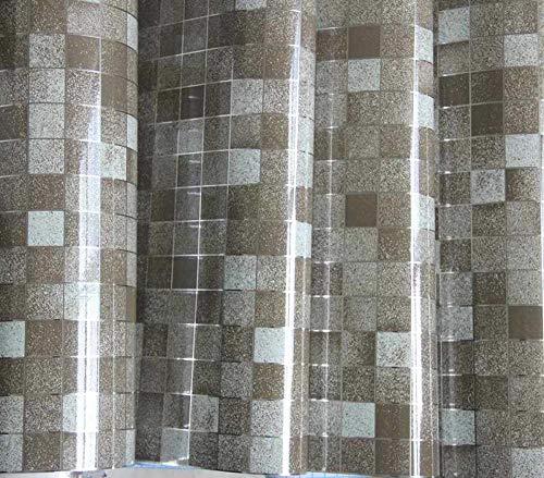Modernes Badezimmer Wasserdichtes Mosaik Vinyl Pvc Selbstklebend Anti Öl Küchentapete Hitzebeständigkeit Diy Home Decor Wandaufkleber-Kaffee_45 X 1000 Cm