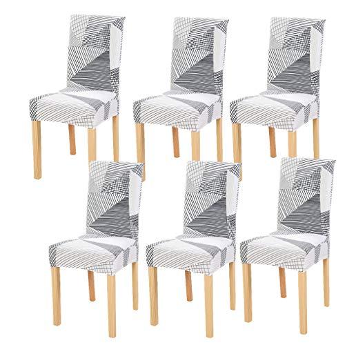 6 Pièces Housses de Chaise de Salle à Manger Couverture de Chaise Extensible Amovible Lavable élastique pour Un Ajustement Universel