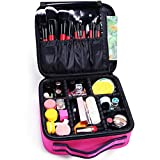 Docolor Makeup Train Cases Cosmetic Case Professional Travel Makeup Bag Organizer Portable Makeup Artist Storage Bag for Cosmetics Makeup Brushes Toiletry Travel Accessories (Rose Red)