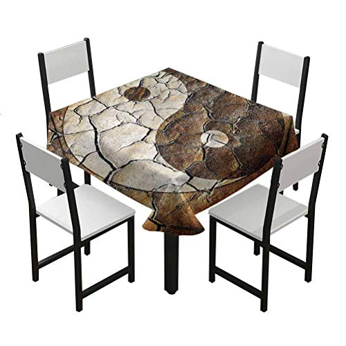 Flyerer Ying Yang Black Drop clothStain Resistant and Spillproof Suitable for banquets, Parties Cracked Dry Earth Soil Best Gifts Under 30 W50 xL50