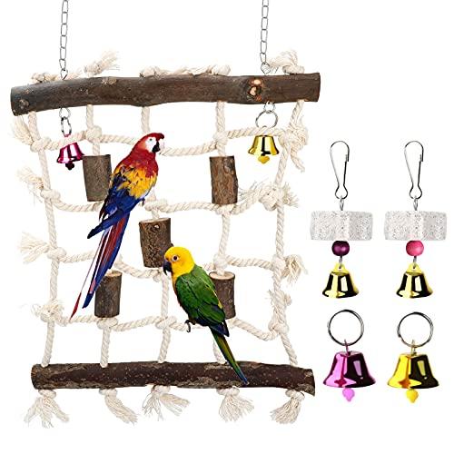LINGSFIRE Juguetes para Pájaros, 3 paquetes de red para columpios de madera natural para mascotas con 2 piedras molares para guacamayos, periquitos, agapornis, pájaros pequeños y medianos
