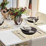 4er Set PVC Platzset, Abwaschbar Tischsets, rutschfeste Platzsets, Gold Tischsets, Platzdeckchen Gold für Weihnachten Party Küche Zuhause Speisetisch - 2