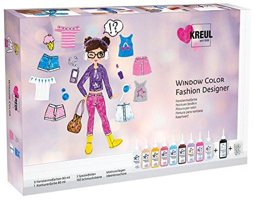 Kreul 42851 - Window Color Set Fashion Designer, für kleine und große Kreative, 9 x 80 ml Fensterfarben, 80 ml Konturenfarbe, 3 verschiedene Folien, 150 Schmucksteine sowie Motivvorlagen