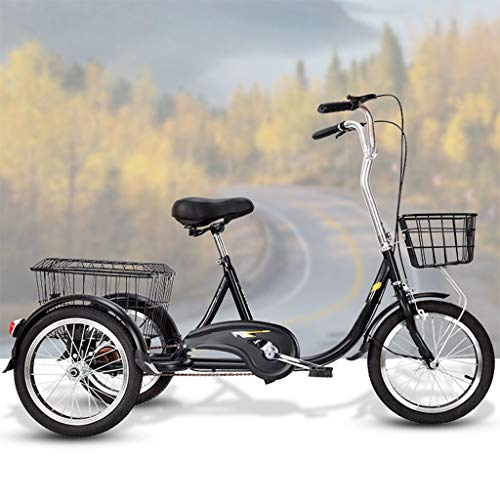 OFFA Adult Tricycles, Adults Trikes 20 Inch 3 Wheel Bikes, Three Wheeled Bicycles Cruise,Double Brakes, Trike with Shopping Basket Cargo Basket for Seniors, Women, Men, Beginner (Color : Black-b)