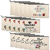 15 Pieces Teacher Makeup Bag Canvas Cosmetic Bag Teacher Pencil Bag Travel Toiletry Pouch Teacher Appreciation Gift Bags with Zipper, 3 Styles