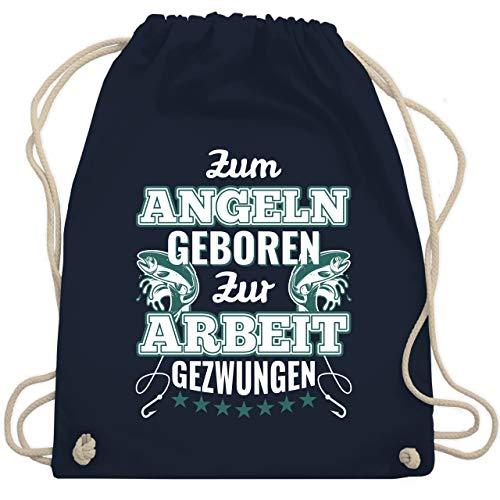 Shirtracer Angeln - Zum Angeln geboren zur Arbeit gezwungen - Unisize - Navy Blau - turnbeutel grün - WM110 - Turnbeutel und Stoffbeutel aus Baumwolle