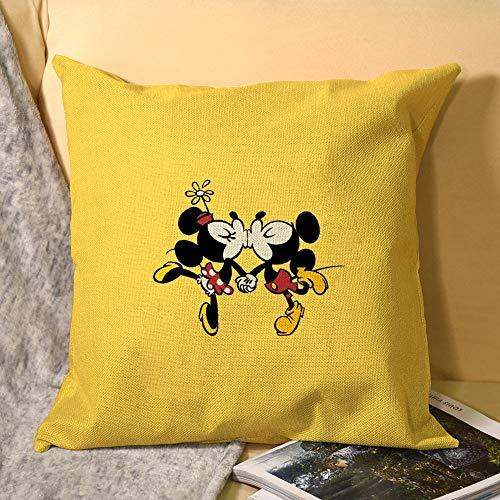Cojín cuadrado para dormitorio con estampado de Mickey Mouse, sofá cama de coche, sala de estar, 45 x 45 cm