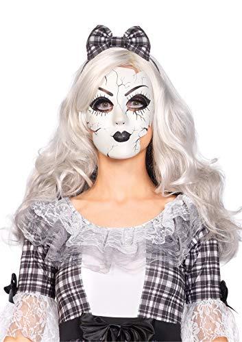 Leg Avenue A2757 - Porzellanpuppe Maske - Einheitsgröße, weiß, Damen Karneval Halloween Kostüm Fasching