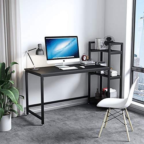 Dripex Kompakte Schreibtisch 126x60x108cm Holz Computertisch mit 3 Ablage, PC-Tisch Bürotisch Officetisch Eckschreibtisch Stabile Konstruktion Tisch für Home Office (Schwarz)