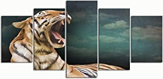 XINGAKA Paintings Modern Canvas Painting Wall Art Pictures 5 Pieces, Drawing Bengal Tiger Portrait Oil Painting,Wall Decor HD Printed Posters Frame