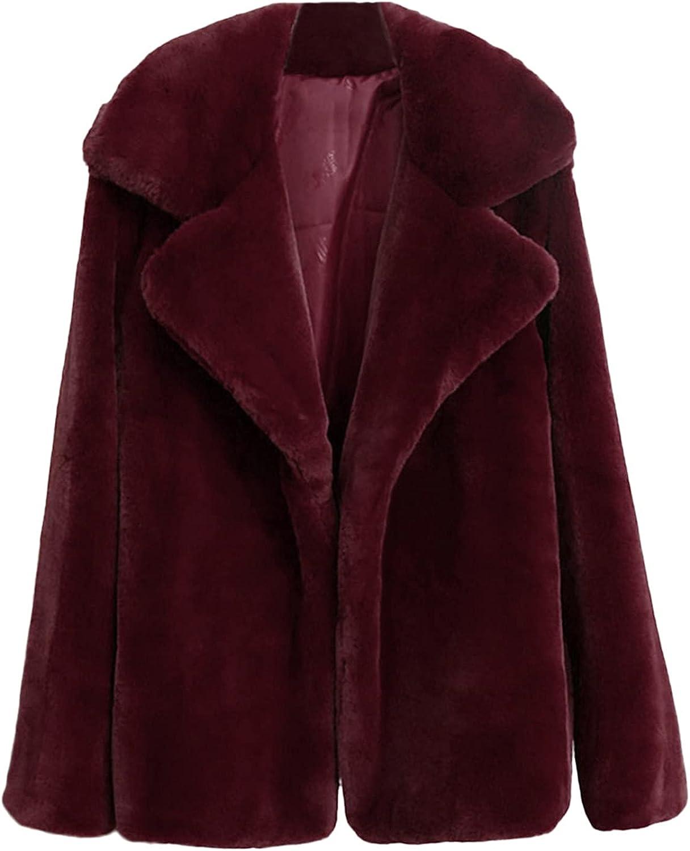 Misaky Women Faux Fur Coat Fashion Winter Warm Thick Coat Solid Overcoat Outercoat Jacket Cardigan Coat