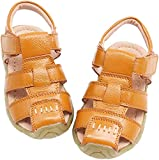 Gaatpot Unisex Niños Sandalias con Punta Cerrada Niña Niño Zapatos Sandalias de Vestir en Cuero Zapatillas Verano Amarillo 29 EU/29 CN