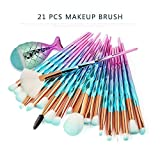 Make Up Brush Set Sirena Pincel de maquillaje Pincel cosmético Pincel de sombra de ojos Fan-shaped Makeup Pinse 21 piezas Pinse Set