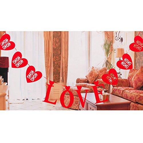 uooom rot Love Karte Banner in Herzform Chinesische Traditions Hi Wort Hohl Wimpelkette Banner Verlobungsring Hochzeit Dekoration, Style A