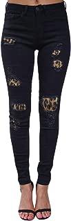 Womens Plus Size Mid Rise Denim Pants Vintage Leopard Patch Detail Skinny Distressed Jeans (S-2XL)
