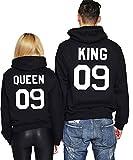 JWBBU Sweatshirt à Capuche Couple Paire pour Femme Homme Impression King Queen 09 Sport Hooded Sweats Pull Loisirs Pullover Blouse Tops (Noir et Noir, King-M.+Queen-S.)