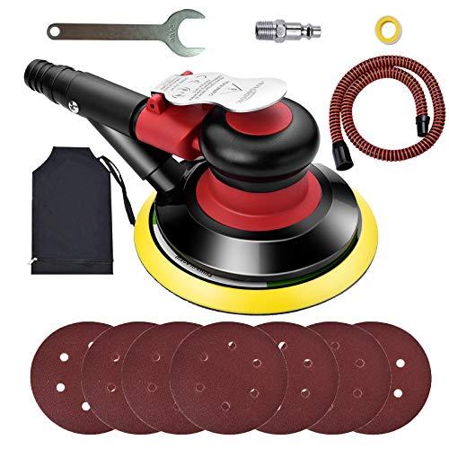 Autolock Exzenterschleifer Pneumatische,6 Zoll 10000 RPM 120mm Poliermaschine mit 7 Stücke Schleifteller, Schleifmaschine Mit Staubbeutel und Staubschlauch