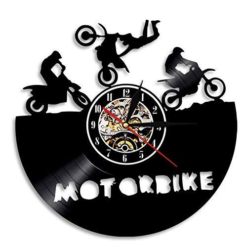 Vinilo de Pared Reloj Reloj de Pared con Disco de Vinilo para Motocicleta con Silueta de Motocicleta Regalo Hecho a Mano para decoración del hogar para Motociclistas 12'